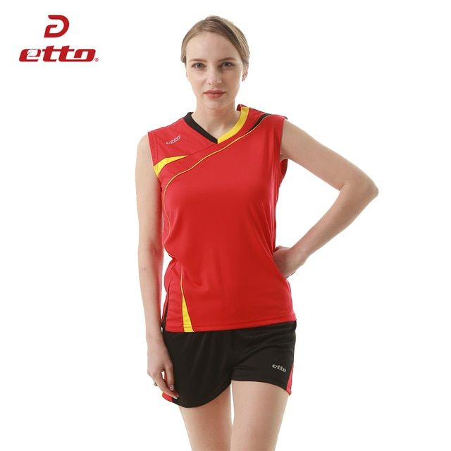 Etto Professional Volleyball Jersey Sets for Women Quick-dry Breathable Volleyball Team Training Uniforms Suits HXB010