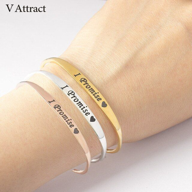 V Attract I Promise Heart Bracelets & Bangle Women Men Jewelry 2018 Pulseras Mujer Gold I Will Always Love You Cuff Bracelet