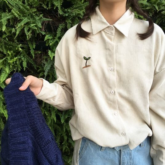Corduroy velventeen long sleeve beige embroidery print patch plants cactus buttons white blue red wine women harajuku