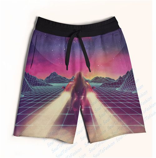 Real AMERICAN US Size Retro Wave 3D Sublimation Print Custom made Fifth & Seventh Shorts with String