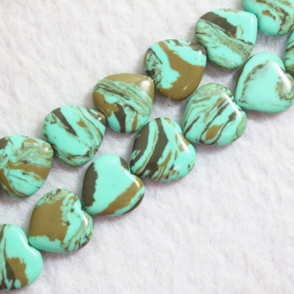 Newly green brown turquoise jasper 16x16mm heart stone fashion gems loose beads diy jewelry making 15 inch B780