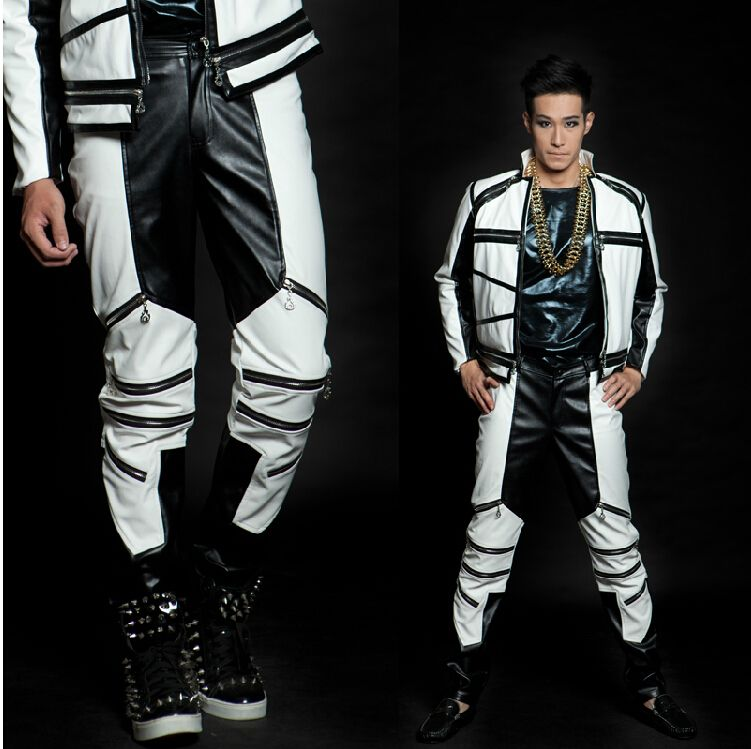 New fashion Spring Autumn black and white color block trousers men drop casual punk zipper faux leather pants