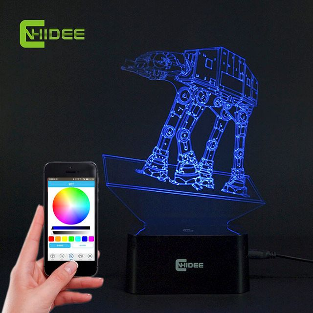 CNHIDEE USB Novelty Music Lamp Light Imperial Walker AT-AT Star Wars Table Light LED Bulbing Lamp 3D Engraving Led Luz de Noche