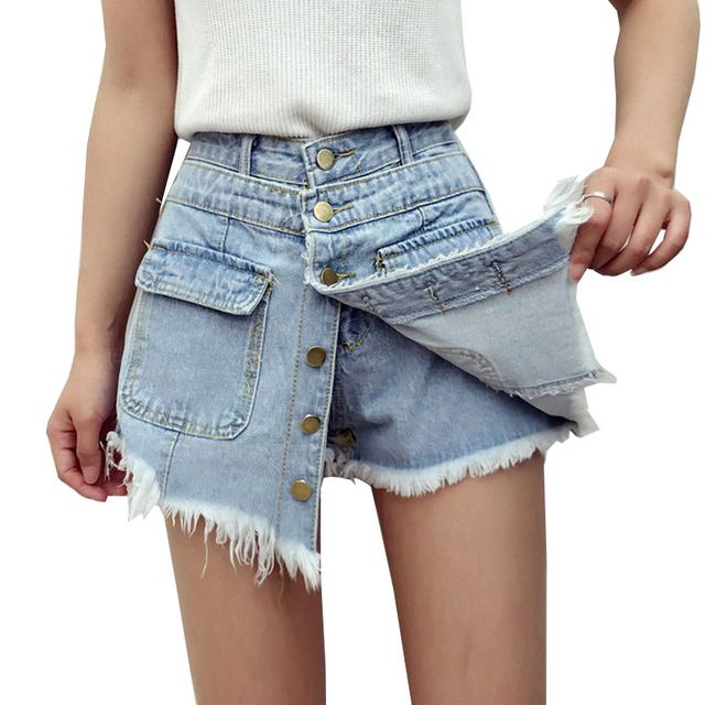 2017 New Summer Buried Vintage Shorts Skirts High Waist Denim Shorts Women All Match Short Jeans Female Short Feminino Y163