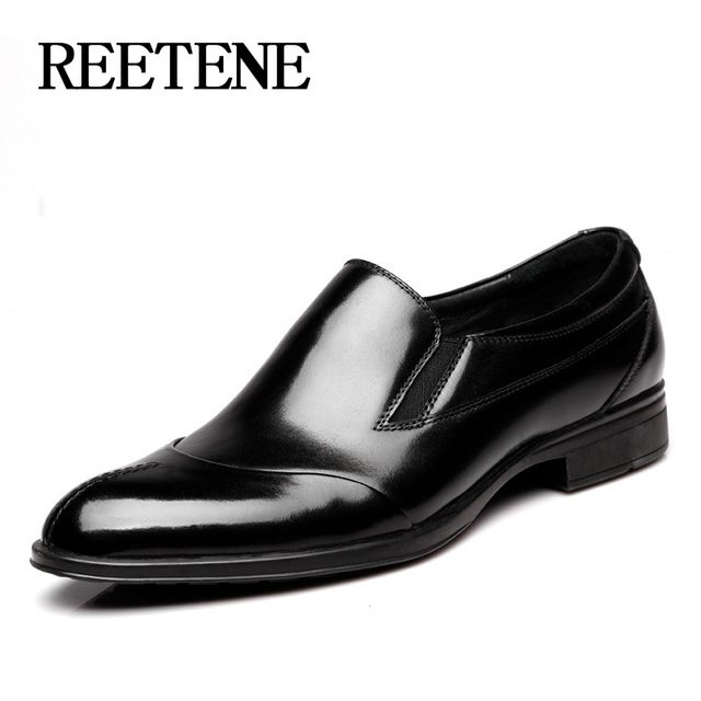 High Quality Genuine Leather Men Dress Shoes Men Fashion Slip-On Business Shoes 2017 New Arrival Genuine Leather Shoes