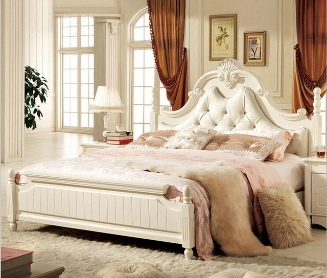 2015 hot selling modern white leather bed bedroom furniture