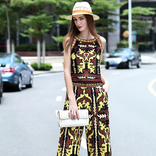 Novelty Sets 2016 Summer Fashion Sleeveless Slim Print Retro Top + Ladies Calf Length Pants Designer Top Grade Twinset