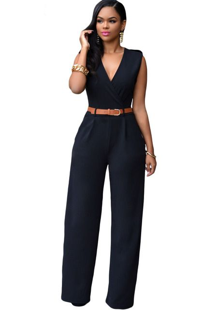 Barboteuse Femme Sexy Club Jumpsuits V Neck Belt Embellished Jumpsuit Summer LC64003 Monos Mujer Largos 2017 Combinaison Femme