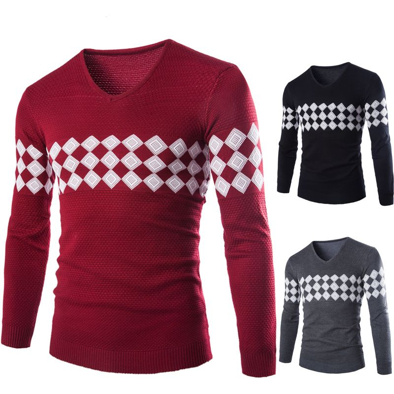 New Winter Sweater Men V-neck Casual Knit Jumpers Sweaters Mens Long Sleeve pull homme Famous Brand Sweater pullover men