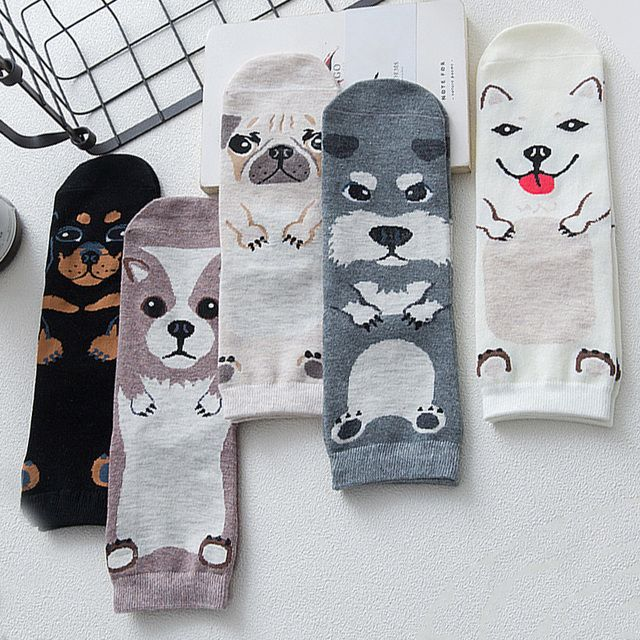 New Women Cute Funny Dogs Socks Cartoon Jacquard Lovely Husky Pug Socks Fashion Cotton Printing Short Socks Floor Meias Sox