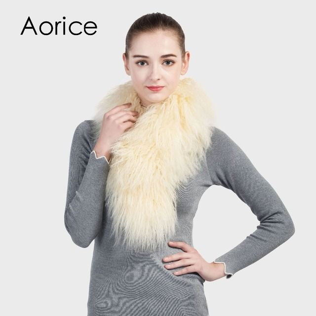 Aorice SF709 women's real sheep fur scarf 2017 brand new style warm wool scarves wraps