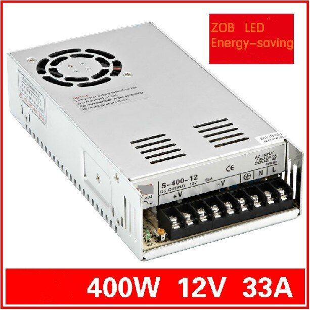 FREESHIPPING 400W LED Switching Power Supply,12V 33A,85-265AC input,power suply 12V  Output CE ROSH HOTSELL S400W-12V-33A