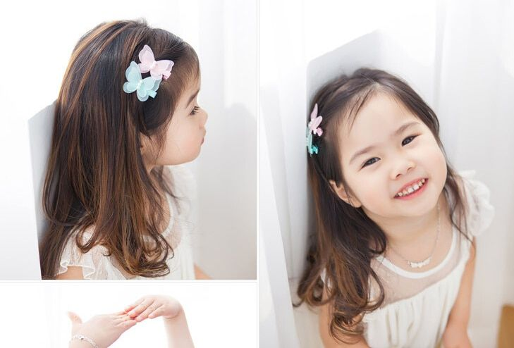 New arrival 2pcs children lovely butterfly with beads Hair Pin baby girl cute BB Clip Hairpins Hair Side Clips