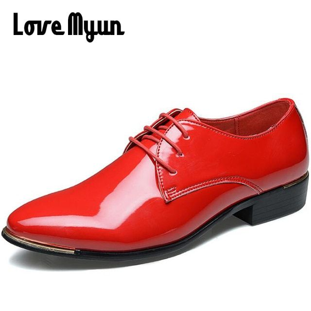 New arrive mens patent leather shoes men dress shoes lace up Pointed toe wedding Business party 5 colors big size 38-48 AA-01