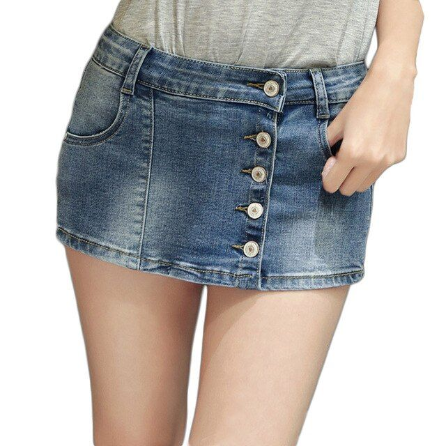Betty Karma Fashion Womens Summer Denim Shorts Skirts Casual Straight Button Fly Blue Shorts Jeans Woman 2017 New Style Shorts