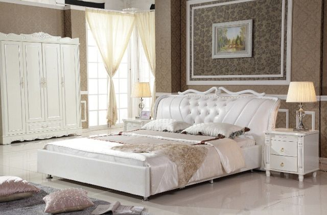 king size white Synthetic Leather bed with bed frame, 4 doors wardrobe and 2 nightstands for bedroom-PRF2807