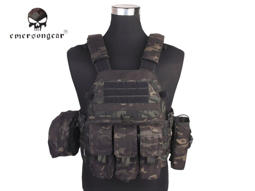 Emersongear LBT6094A Style Tactical Vest With 3 Pouches Hunting Airsoft Military Combat Gear Multicam Black EM7440MCBK