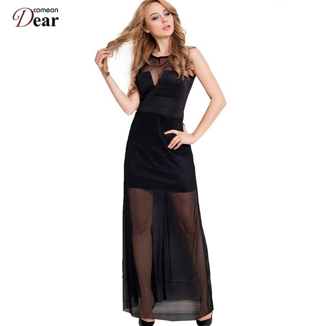Comeondear Chiffon Dress with Floor-length Sheer Overlay Maxi Dresses Long Sleeveless Sweet and Romance R70235Women Summer Dress