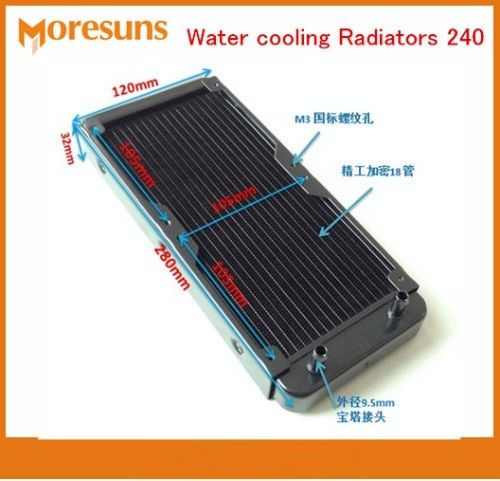 Fast Ship Water Cooling Radiator 240 Pure Aluminum Water Cooled Cooling 18 Tube laptop Desktop Cold Type Tube Heat Exchanger