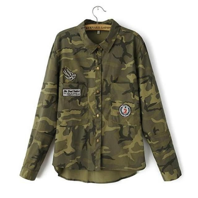 2016 Fashion Women Long Sleeve Camouflage Clothing Shirt Novelty Casual Slim Embroidery Army Green Coats Jackets Coat Blouses