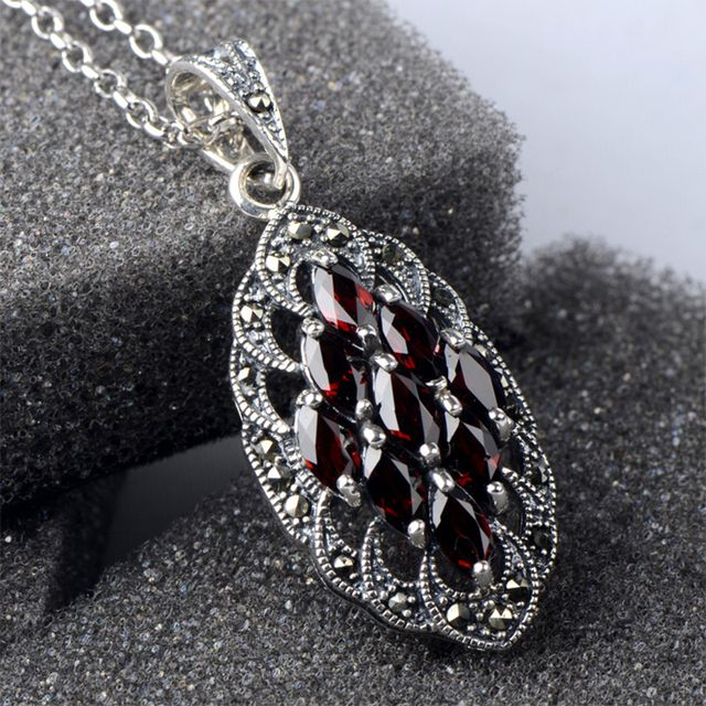 Red Stone  925 sterling silver ladies Luxury gem pendants necklaces jewelry wholesale  for women jewelry
