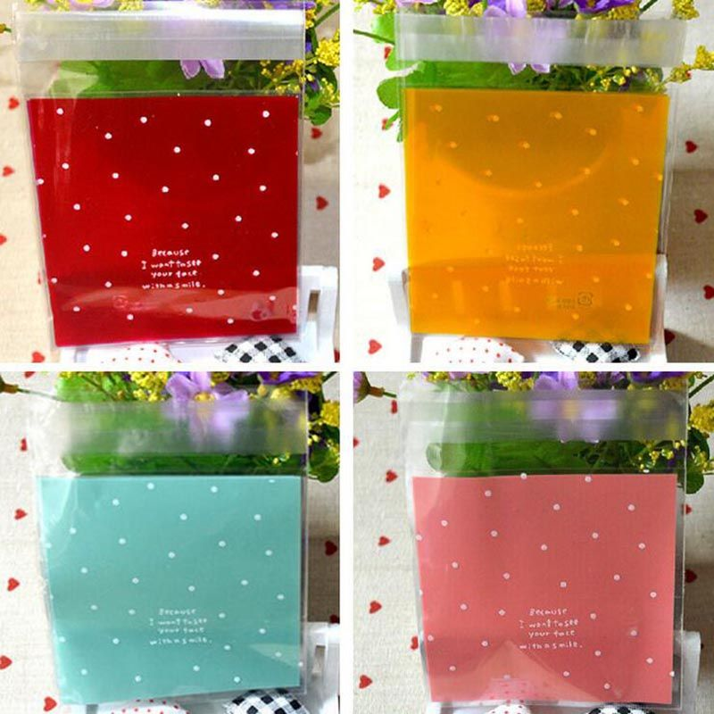 50Pcs/lot 10x10cm Dots OPP Plastic Candy Bags Christmas Gift Bag Birthday Party Wedding Cookie Baking Packaging Bag 7Z