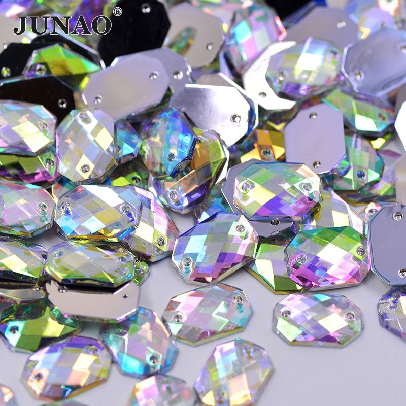 JUNAO 10*14mm Sewing Flatback Crystal AB Rhinestones Sew On Strass Crystal Stones Square Octagonal Shape Acrylic For Clothes
