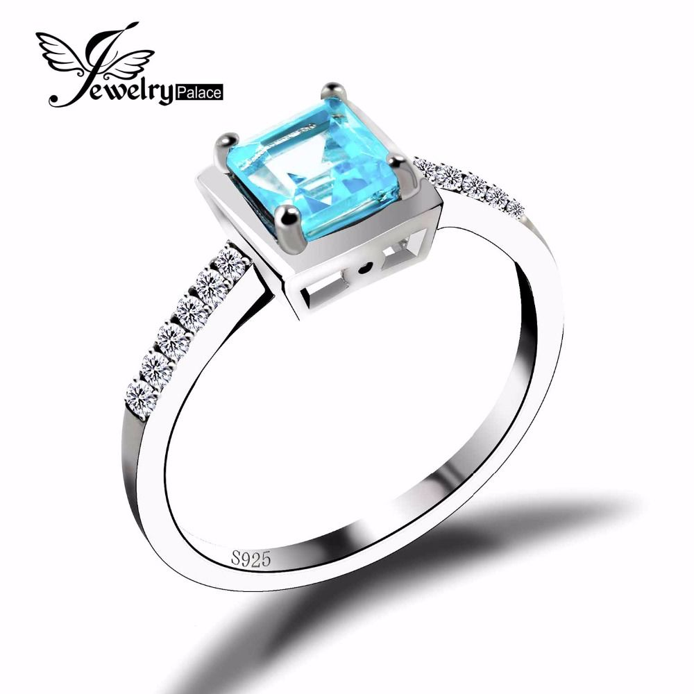 Genuine Natural Sky Blue Topaz Square Engagement Wedding Ring Solid 925 Sterling Solid Silver 2016 Brand New Best Gift For Women