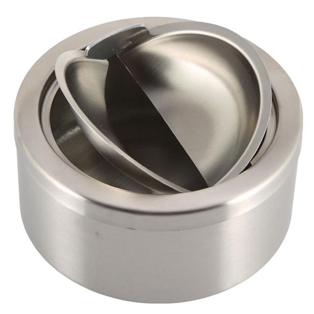 1pc Stainless Steel Cigarette Lidded Ashtray Silver Round Windproof Ashtray with Cover Portable Outdoor Accessories