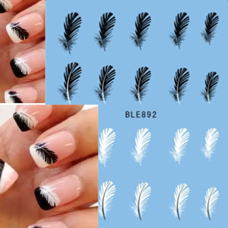 1pcs Beautiful Black White Feather Nail Art Decal Stickers Fashion Tips Decoration Watermark Nail Art Decor Tool TRBLE892/STZ