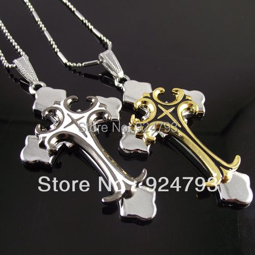 stainless steel Chain best selling steel big men's cross style pendant mens pendant Double Cross Gold and White