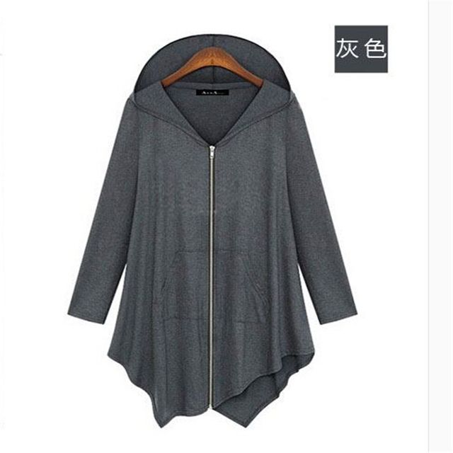 Irrrgular 2018 Women Hoodies Solid Cotton Loose Coat Casual Women Lady Fashion Leisure Long Sleeve Clothing B912
