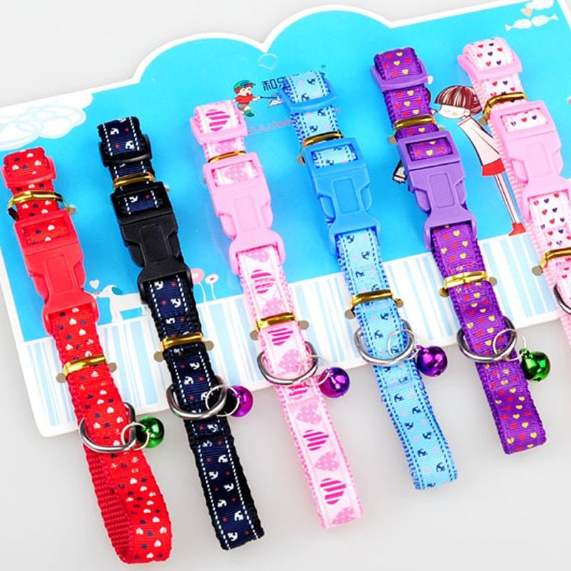 "Pet supplies cat dog collar with a bell small dogs collar poodle teddy bear cat collar fit neck 7.9-14.2"" small cat mini dog"