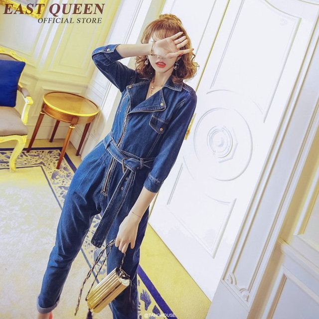 Female denim jumpsuit long sleeve denim jumpsuit women new arrivals female jumpsuits for women 2017 KK083