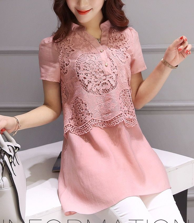 3xl plus size tops blusas feminina spring summer style 2016 new korean fashion women shirts pink lace shirts sweet cute A0148
