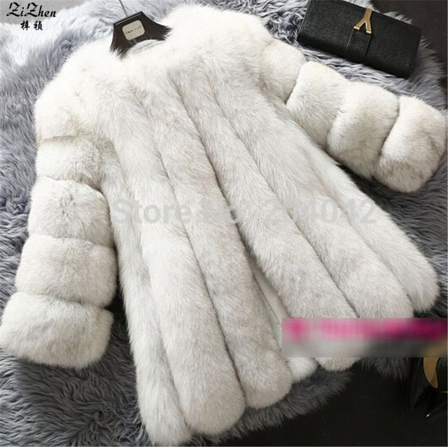 Winter Warm Natural Real Genuine Fox Fur Coat Women Luxury Jacket Long Overcoat Pockets 20140913-1X