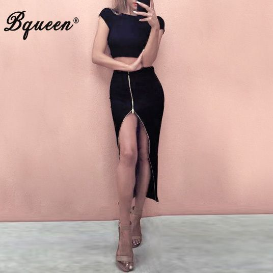 Bqueen 2017 Short Sleeve Crop Top High Split Zip 2 Piece Sets Bandage Dress