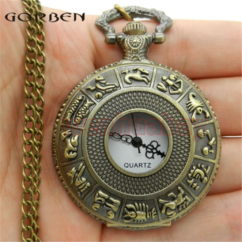 Dial 4.5 cm SteamPunk Style Constellation Zodiac Pocket Watch Pendant Necklace Bronze Color Animal Fob Watches Clock