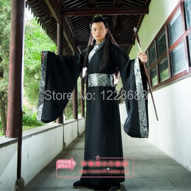 3 Colors Black White Red National Ancient Chinese Hanfu Clothing Cosplay Costume Hanfu Men