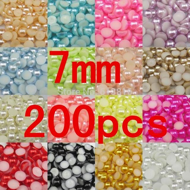 7mm 200pcs Craft Half Pearl Beads Flat Back pearls Embellishment DIY Nail Beauty Art Phone Shoes Clothes decarotion Pearl Beads