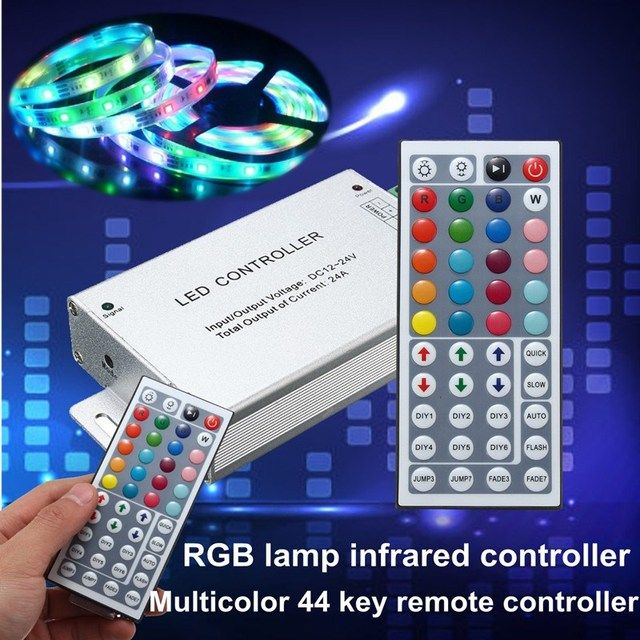 24A LED RGB Controller For RGB SMD 5050 3528 Strip Lights With 44 Keys IR Remote Controller 288W DC12V-24V