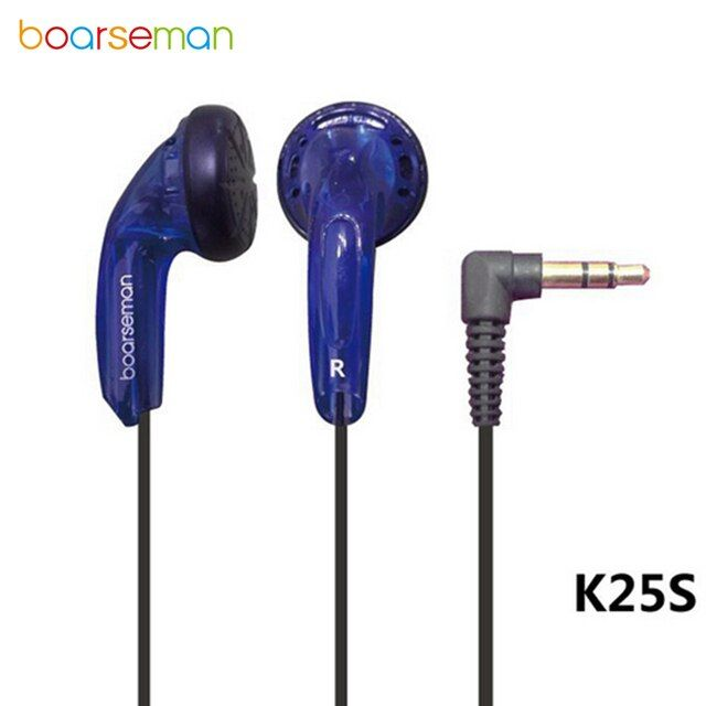 Original Boarseman K25S Wired Earphone Flat Head Plug Earplugs HIFI Headset Sport Running In-ear 3.5mm Earpieces Dynamic Earbuds