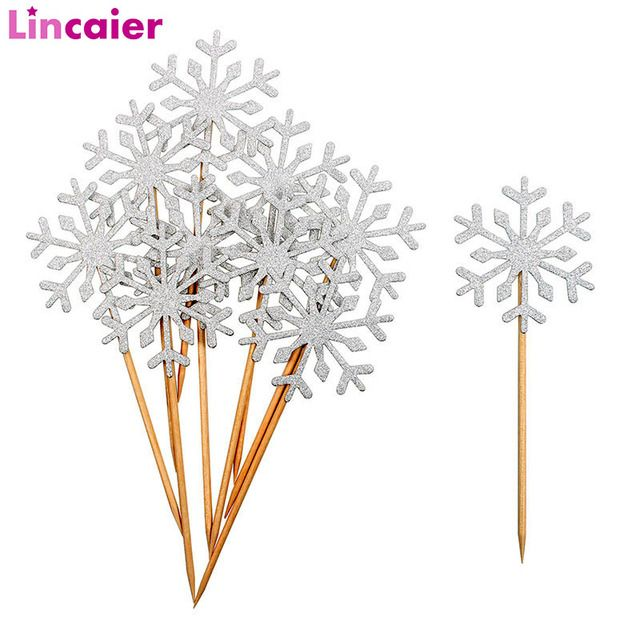 Lincaier 10Pcs Snowflake Cupcake Toppers 2018 Merry Christmas Decorations for Home Supplies Ornaments 2019 New Year Santa Claus