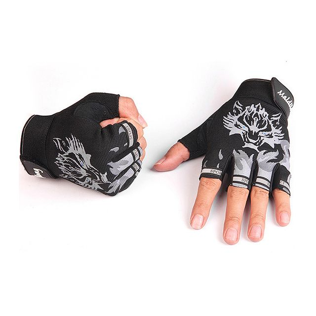 Men's fashion semi-finger wolf pattern tactical gloves male half finger fitness sports slip-resistant driving gloves