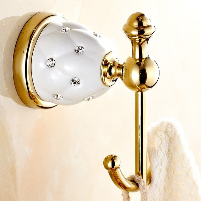European Clothes Hanging Hook Golden Robe Hook Row Diamond Bathroom Kitchen Towel Hook Bathroom Accessories