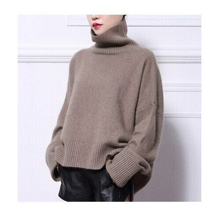 2016 New genuine mink cashmere sweater women pure cashmere pullovers turtleneck sweater brand style free shipping   m10