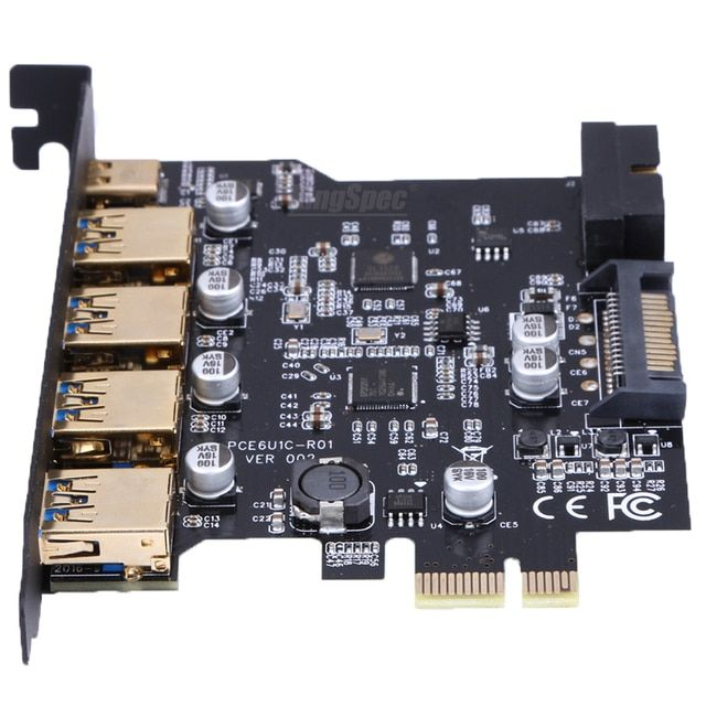 For Win8/8.1/10 USB 3.0 type-c 4 Port PCI Express Expansion Card with 19-Pin sata power interface Connector for PC computer