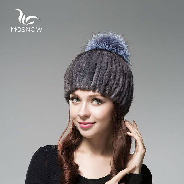 MOSNOW 2017 New Genuine Mink Fur Winter Hats For Women Stripe Thick Warm Silver Fox Pompons Cap Female Winter Tocas Beanie Cap