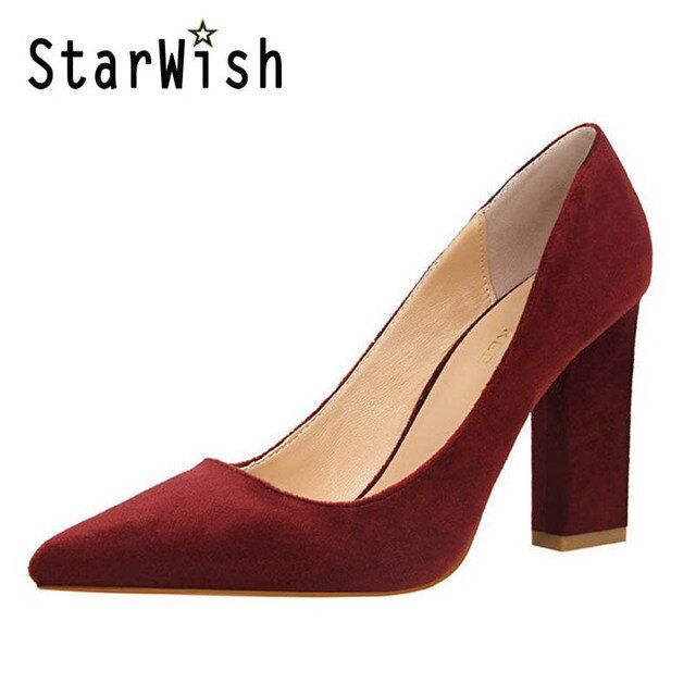 STARWISH New Pointed Toe Shallow Mouth Women Square Heel Pumps Vintage Flock High Heels Women Shoes Ladies Elegant Office Heels