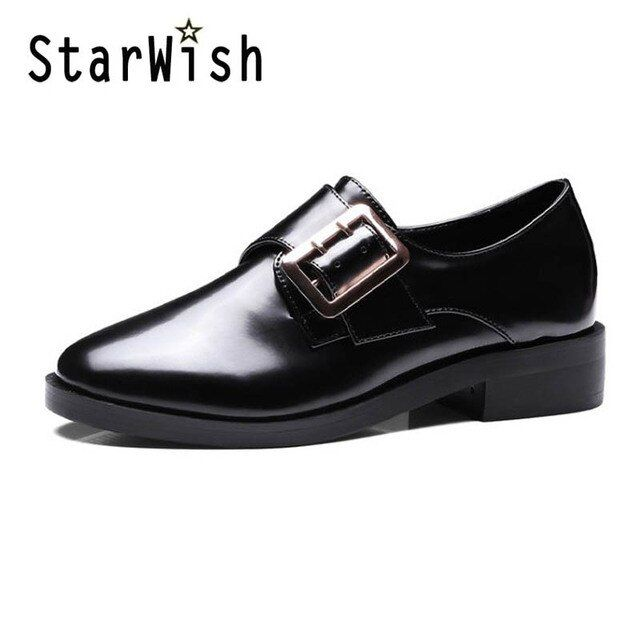 Women's Oxfords 2017 Metal Buckle Hook & Loop Platform Loafers Shoes Woman Slip On Casual Creepers Flats Women Brogue Shoes D55